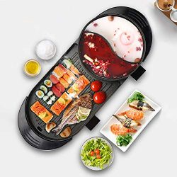 Uttiny Portable Electric Grill, 2000W Electric Indoor and Ourdoor Shabu Shabu Hot Pot with Barbe ...