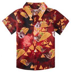 uideazone Boys Short Sleeve Hawaiian Luna Blouses Classic Hibiscus 3D Graphic Pineapple Island S ...