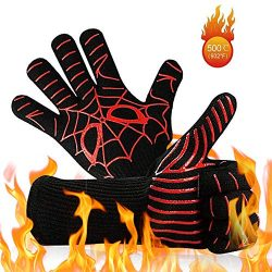 URBANSEASONS BBQ Grill Gloves, 932°F Heat Resistant Grilling Gloves, Food Grade Kitchen Oven Mit ...