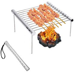 Beyonds Portable Camping Grill, Folding Compact Stainless Steel Charcoal Barbeque Grill for Camp ...
