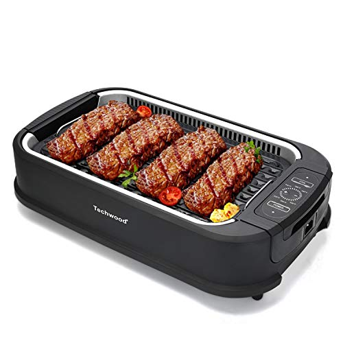Techwood Smokeless Grill Electric Non-stick BBQ Plate for Searing Grilling Indoor/ Outdoor, Comp ...