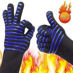 BBQ/Cooking Anti-Scalding Gloves, Premium Non-Slip Insulated Fireproof Kitchen Mitts, 1472°F Ext ...