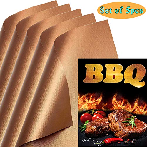 KCZAZY Copper Grill Mats Set of 5 – Reusable, 100% Non Stick, 0.25mm, Easy to Clean Barbec ...