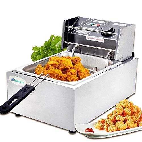 Electric Deep Fryer -Nurxiovo 8Liter Commercial Small Deep Fryer with Basket 1800watt Countertop ...