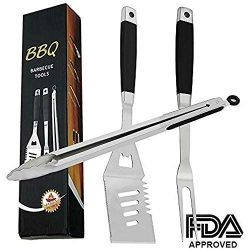 EOYIZW 3-Piece Grill Tool Set, Stainless Steel Grilling Tools Set, Heavy Duty BBQ Accessories: E ...