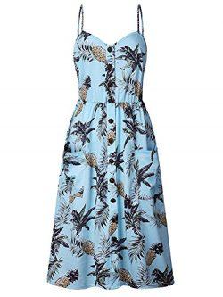 ECHOINE Women Sling Blue Pineapple Floral Beach Dress Sleeveless Slim Waist