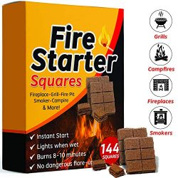 Bangerz Sunz Fire Starter Squares 144, Fire Starters for Fireplace, Wood Stove & Grill, Camp ...