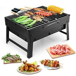 KESS Barbecue Grill Portable BBQ Charcoal Grill Smoker Grill for Outdoor Garden Grill Cooking Ta ...