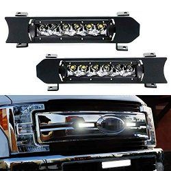 iJDMTOY Front Grille LED Light Bar Kit For 2017-up Ford F250 F350 Lariat King Ranch, Includes (2 ...