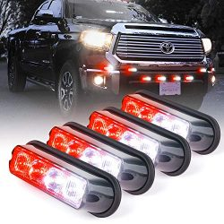 Xprite White & Red 4 LED 4 Watt Emergency Vehicle Waterproof Surface Mount Deck Dash Grille  ...