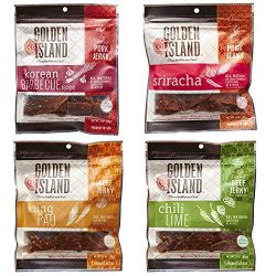 Variety Pack Golden Island Beef and Pork Jerky, Korean BBQ, Sriracha, Chili Lime and Kung Pao 3  ...