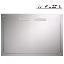 YXHARD Outdoor Kitchen Door, 304 Stainless Steel 33″ Wx 22″ H Double BBQ Access Door ...