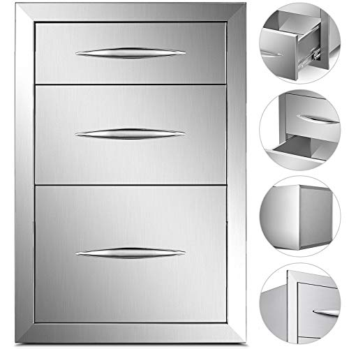 Mophorn 15×21 Inch Outdoor Kitchen Stainless Steel Triple Access Drawers BBQ Storage with C ...