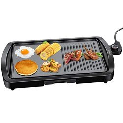 Electric Griddle, IKICH 2-in-1 Grill Griddle, 1600W Smokeless Nonstick Indoor Grill with Drip Tr ...