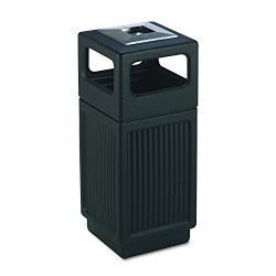 Safco Products Canmeleon Outdoor/Indoor Recessed Panel Trash Can with Ash Urn 9474BL, Black, Dec ...