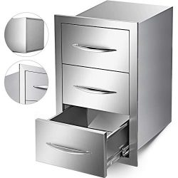 Mophorn Outdoor Kitchen Drawer Stainless Steel 16×28.5 Inch Triple Access BBQ Drawers with  ...