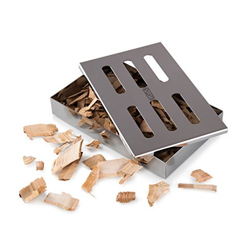 RWM Smoker Box, Heavy Duty Stainless Steel Grilling Barbecue Meat BBQ Charcoal Gas Grill Wood Chips