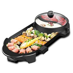 SEAAN Electric Grill Indoor Hot Pot Multifunctional, Indoor Teppanyaki Grill/ Shabu Shabu Pot wi ...