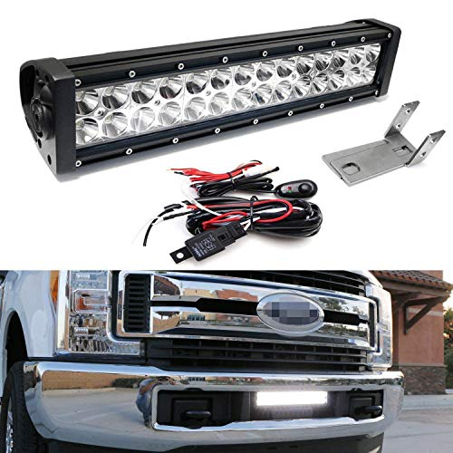 iJDMTOY Lower Grille Mount LED Light Bar Kit For 2017-up Ford F250 F350 Super Duty, Includes (1) ...