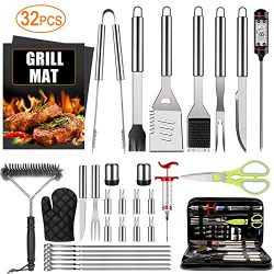 32PCS BBQ Grill Accessories Tools Set, Stainless Steel Grilling Tools with Carry Bag, Thermomete ...
