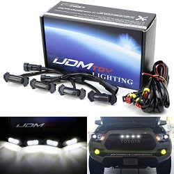 iJDMTOY 4pc Set Smoked Lens Front Grille Lighting Kit For 2016-up Toyota Tacoma w/TRD Pro Grill  ...