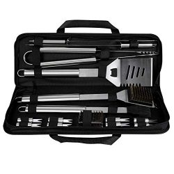 Grill Set 16 Piece BBQ Grill Tool Accessories, CREMAX Stainless Steel Barbecue Kit with Storage  ...