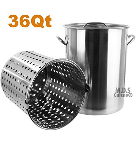 Pot Strainer Basket 36QT Heavy Commercial Stainless Steel Duty Outdoor Stockpot