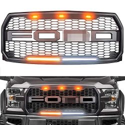 Raptor Style Grille for 2015-2017 Ford F150, Replacement Raptor Grill Light Kit Front Bumper Gri ...