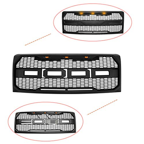 Front Grille Fits 2009-2014 FORD F150 Raptor Style Grill Kits With Amber LED Light and F&R L ...