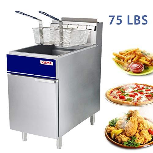 Premium Commercial Deep Fryer – KITMA 75 lb. Liquid Propane 5 Tube Floor Fryer with 2 Frye ...