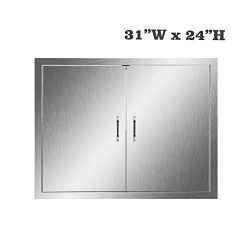 304 Stainless Steel BBQ Kitchen Island Door, Single Barbecue Grill Doors for Outdoor Cabinet, Ac ...