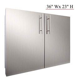 YXHARD Outdoor Kitchen Door, 304 Stainless Steel 36″ Wx 23″ H Double BBQ Access Door ...
