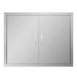 APWONE Outdoor Kitchen Access Doors Double BBQ Island 304 Stainless Steel Doors Cabinet Door Flu ...