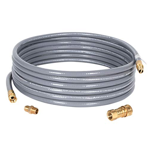 GGC 10 Feet 1/2 inch ID Natural Gas Grill Hose with Quick Connect Fittings 3/8 Female to 1/2 Mal ...