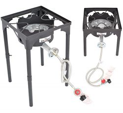 COOKAMP High Pressure Banjo 1-Burner Outdoor Camp Stove with Adjustable Height. 0-20 PSI Adjusta ...