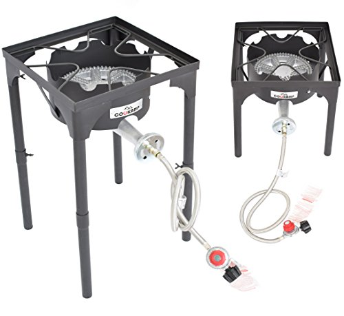 COOKAMP High Pressure Banjo 1-Burner Outdoor Camp Stove with Adjustable Height. 0-20 PSI Adjusta ...