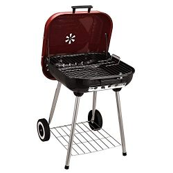 Outsunny 19″ Steel Porcelain Portable Outdoor Charcoal Barbecue Grill with Wheels