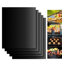 Dailyart Grill Mats Non Stick Set of 5 BBQ Grill Mat Baking Mats FDA-Approved PTFE Teflon BBQ Ac ...