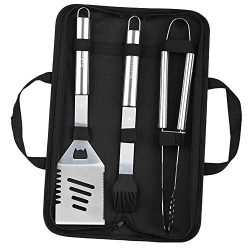 Estimare BBQ Grill Tools Set – 3 Piece Stainless Steel Barbecue Grilling Accessories with  ...