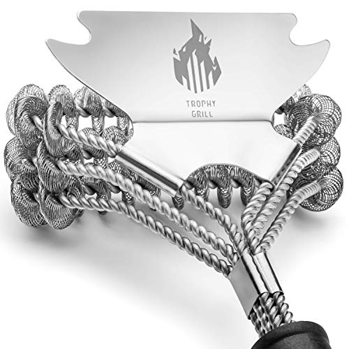 Trophy Grill Bristle Free Cleaner 100% Rust Resistant Safe BBQ Grill Brush with Scraper –  ...