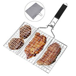 BBQ Barbecue Grilling Basket,Portable Stainless Steel Barbecue Net Fork with Removeable Handle.  ...