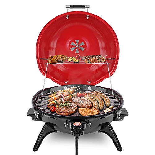 Techwood Electric BBQ Grill 15-Serving Electric Grill Outdoor/Indoor, Nonstick Portable Grill 16 ...