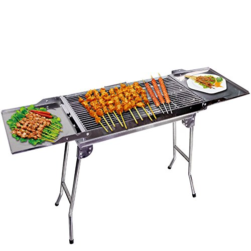 Outdoor4less Stainless Steel Portable Folding Tall Barbecue BBQ Charcoal Grill with Lges – ...
