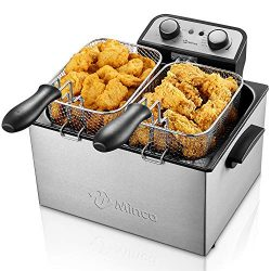 Deep Fryer with Basket, M Minca 1800W Electric Deep Fryer with Timer, Stainless-Steel Triple Bas ...