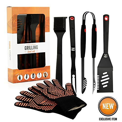Yukon Glory Heavy Duty 5 Piece Grilling Tools Set, Durable Stainless Steel BBQ Accessories, Long ...