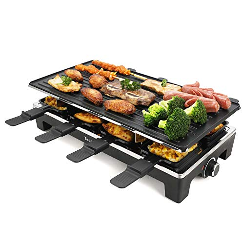 Techwood Raclette Grill Raclette Party Grill Electric Grill Indoor/Outdoor Grill BBQ Grill 1500W ...