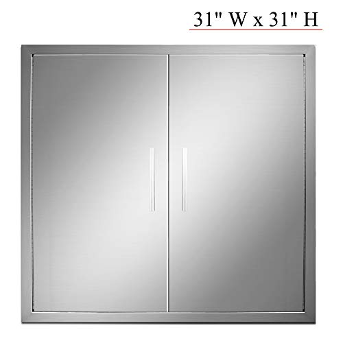 YXHARD Outdoor Kitchen Door, 304 Stainless Steel 31 Inch Double BBQ Access Door for Outdoor Summ ...