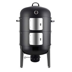 Realcook Charcoal BBQ Smoker Grill – 20 Inch Vertical Smoker for Outdoor Cooking Grilling