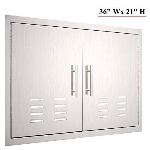 YXHARD Outdoor Kitchen Door, 304 Stainless Steel 36″ Wx 21″ H Double BBQ Access Door ...
