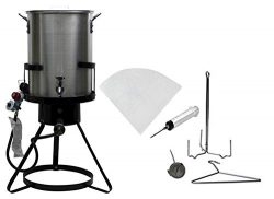 Outdoor Heavy Duty 50,000 BTU Propane 30 Quart Deep Turkey Fryer with Pot Plus Injector and Oil  ...
